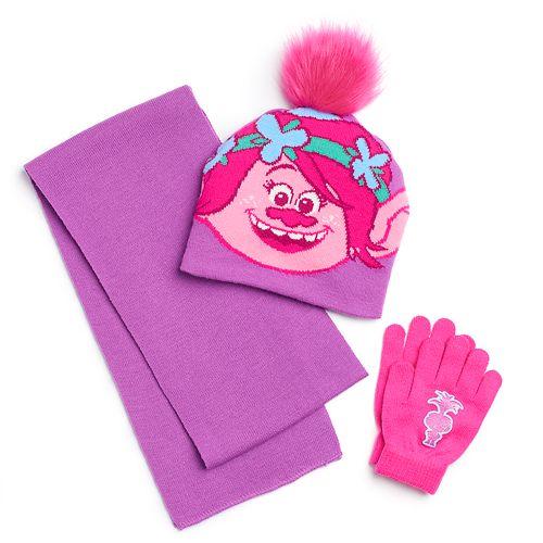 Girls 4-6x DreamWorks Trolls Poppy Hat, Scarf & Gloves Set