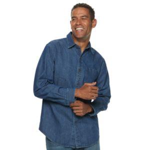 Men S Dickies Denim Button Down Work Shirt