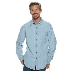 Men's Croft & Barrow® Classic-Fit Denim & Twill Button-Down Shirt