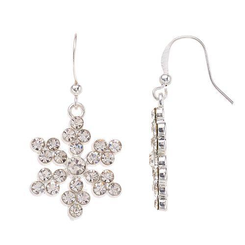Simulated Crystal Snowflake Nickel Free Drop Earrings
