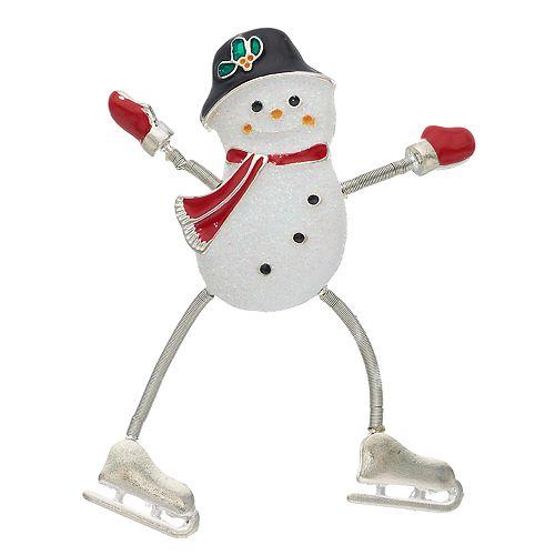 Silver Tone Snowman Pin