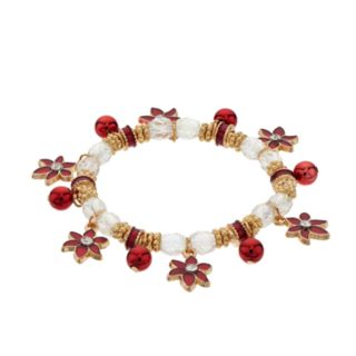 Poinsettia Charm Stretch Bracelet