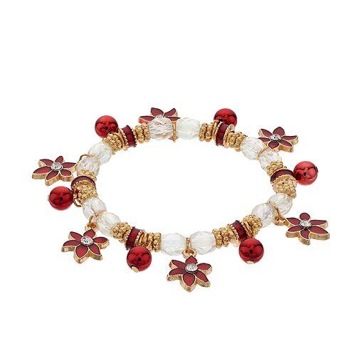 Poinsettia Charm Stretch Bracelet