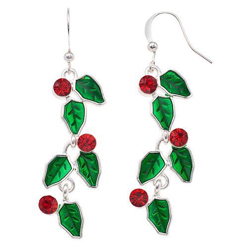 Holly Leaf Nickel Free Drop Earrings