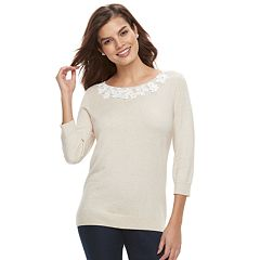 Women's ELLE™ Floral Applique Crewneck Sweater