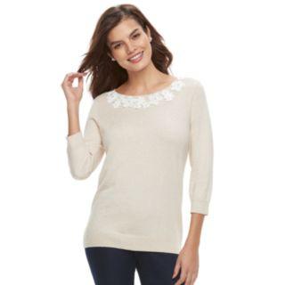 Women's ELLE? Floral Applique Crewneck Sweater