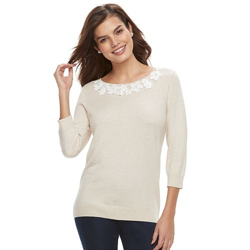 Women's ELLE™ Floral Applique Crewneck Sweater