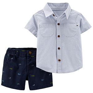 5aa682c85 Baby Boy Carter s Boats Button Down Shirt   Striped Shorts Set. (31). Sale