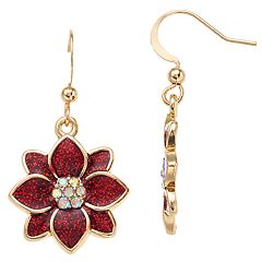 Poinsettia Nickel Free Drop Earrings