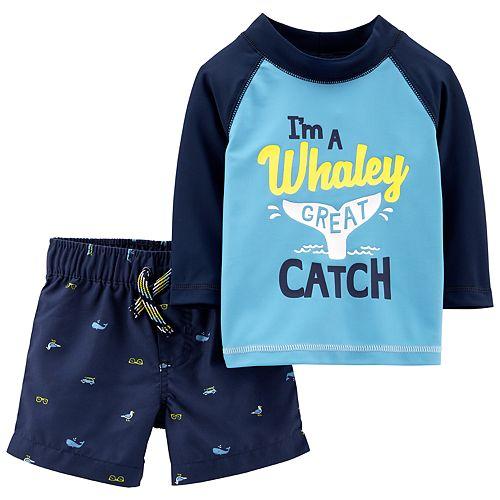 baa1743051 Baby Boy Carter's Whale Rash Guard Top & Swim Shorts Set