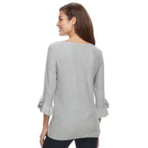 Women's ELLE? Ruffle Bell-Sleeve Sweater