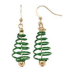 Spiral Christmas Tree Nickel Free Drop Earrings