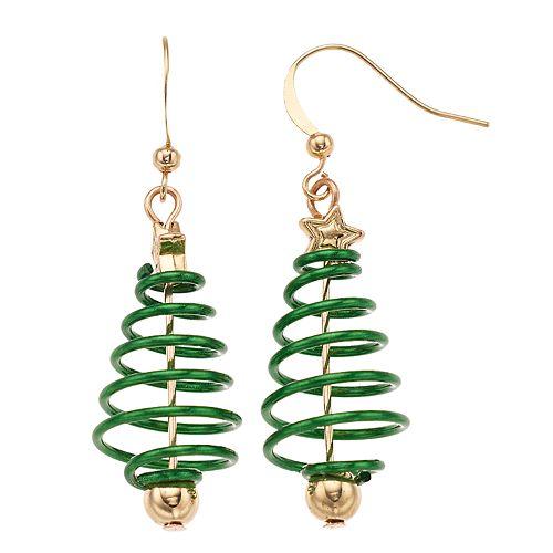 Spiral Christmas Tree Nickel Free Drop Earrings