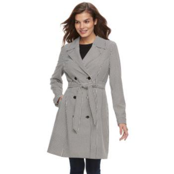 Women's ELLE? Houndstooth Trench Coat