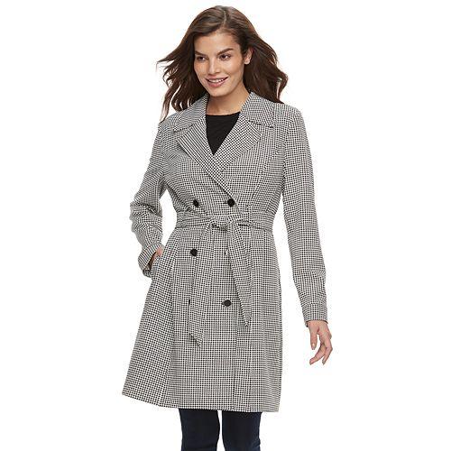 Women's ELLE™ Houndstooth Trench Coat