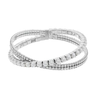 Simply Vera Vera Wang Simulated Pearl & Crystal Flexible Cuff Bracelet