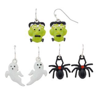 Spider, Ghost & Ghoul Nickel Free Drop Earrings Set