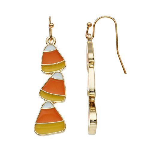 Gold Tone Nickel Free Triple Candy Corn Drop Earrings