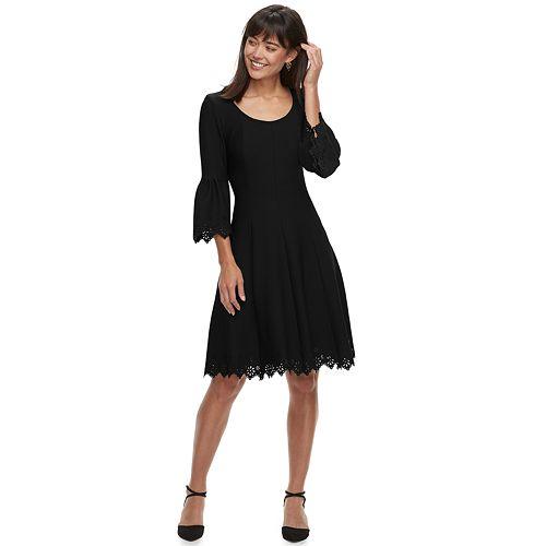 Women's ELLE™ Bell-Sleeve Fit & Flare Dress