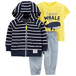 Baby Boy Carter's Striped Zip Hoodie, Tee & Pants Set