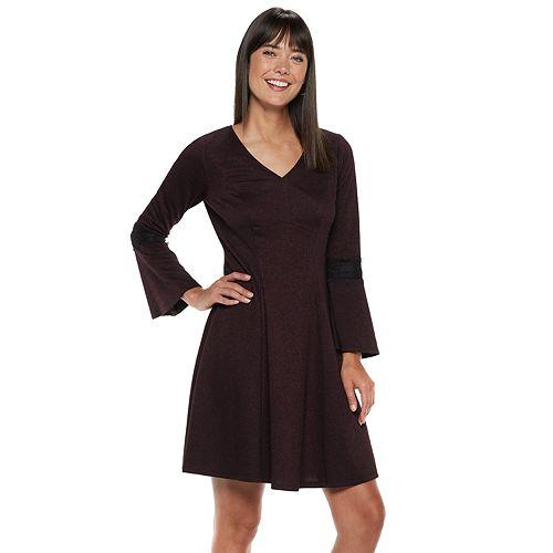 Women's ELLE™ Lace-Trim Fit & Flare Dress