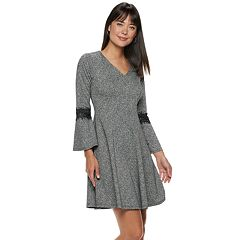 Women's ELLE™ Lace-Trim Fit & Flare Sweater Dress