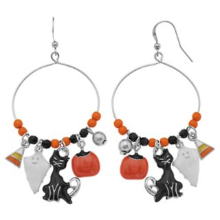 Halloween Charm Nickel Free Hoop Drop Earrings