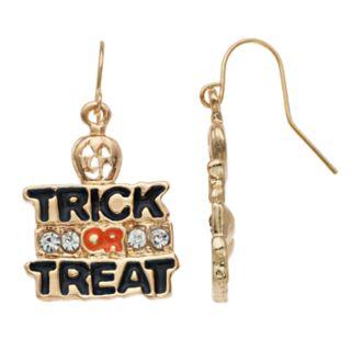 Gold Tone Nickel Free Trick Or Treat Drop Earrings