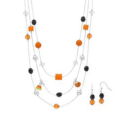 Black & Orange Halloween Bead Multi Strand Necklace & Drop Earring Set