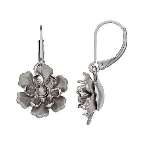 Simply Vera Vera Wang Jet Flower Drop Earrings