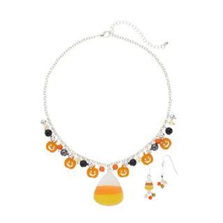 Candy Corn Pendant Necklace & Drop Earring Set