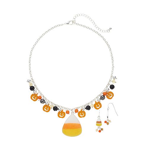 Candy Corn Pendant Necklace & Drop Earring Set