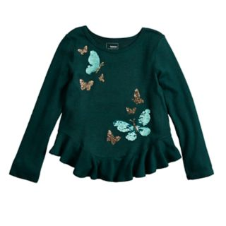 Girls 4-12 SONOMA Goods for Life? Embellished Ruffled-Hem Knit Sweater