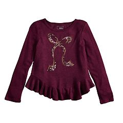 Girls 4-12 SONOMA Goods for Life™ Embellished Ruffled-Hem Knit Sweater