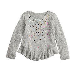 Girls 4-12 SONOMA Goods for Life™ Embellished Ruffled-Hem Knit Sweater