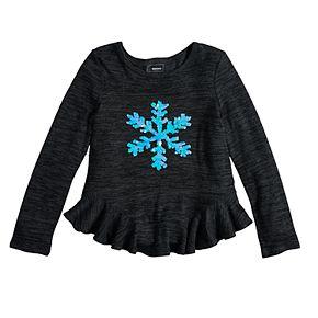 Girls 4-12 SONOMA Goods for Life? Embellished Ruffled-Hem Knit Sweater