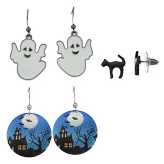 Cat, Ghost & Halloween Disc Nickel Free Drop Earrings Set