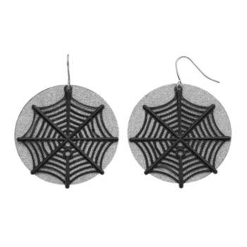 Halloween Spiderweb Glittery Disc Drop Earrings