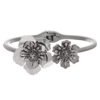 Simply Vera Vera Wang Two Tone Flower Hinged Cuff Bracelet