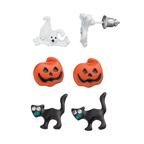 Halloween Ghost, Pumpkin & Black Cat Stud Earring Set