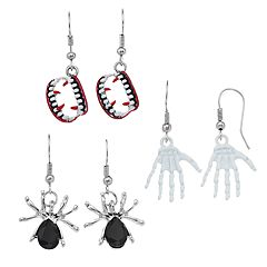 Vampire Teeth, Skeleton Hands & Spider Nickel Free Drop Earring Set