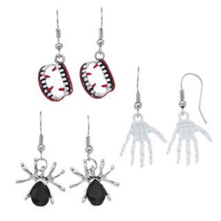 Vampire Teeth, Skeleton Hands & Spider Nickel Free Drop Earring Set