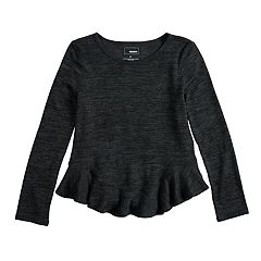 Girls 4-12 SONOMA Goods for Life™ Curved Ruffle-Hem Knit Sweater