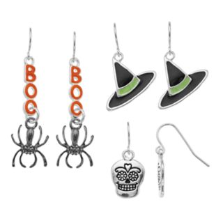 Skeleton, Hat & Spider Nickel Free Drop Earring Set