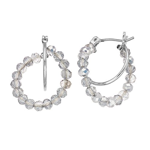 Simply Vera Vera Wang Beaded Double Hoop Earrings