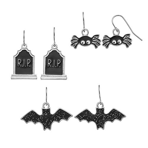 Bat, Tombstone & Spider Nickel Free Drop Earring Set