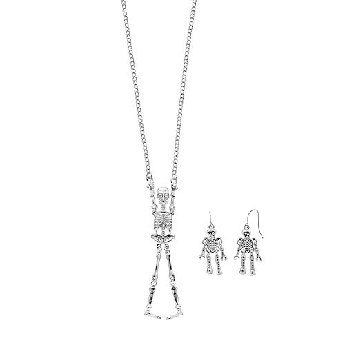 Shaky Skeleton Pendant & Drop Earring Set