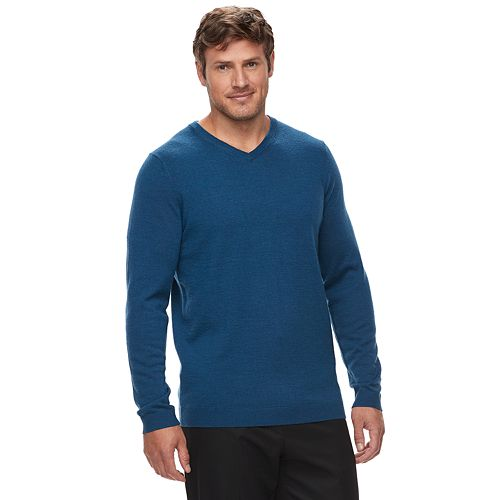 Mens Apt 9 Premium Merino Wool Blend Sweater V-Neck Solid Black