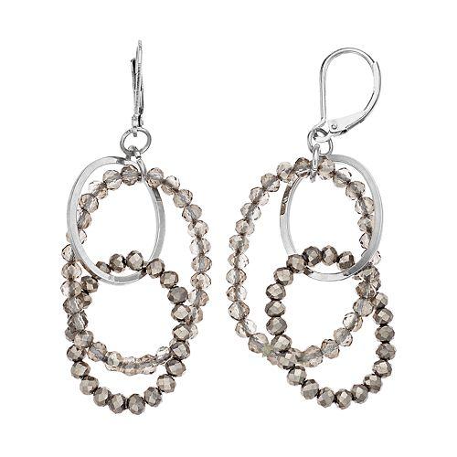 Simply Vera Vera Wang Beaded Interlocking Hoop Earrings