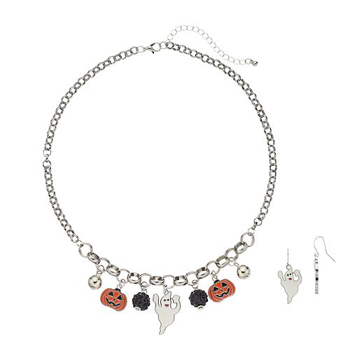 Halloween Charm Necklace & Ghost Drop Earring Set